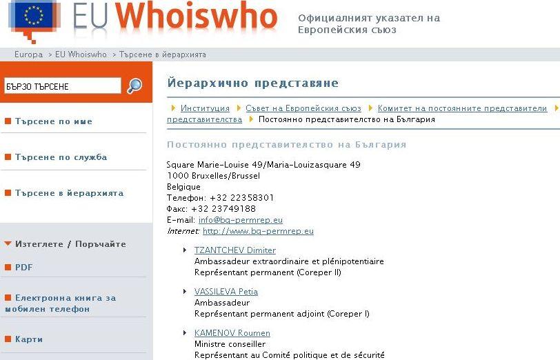 Списък с членовете от постоянното представителство на България в Брюксел